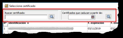 Opciones de búsqueda en la selección de Certificados
