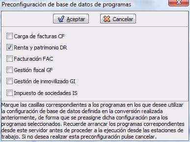 Asistente de configuración de la base de datos del programa