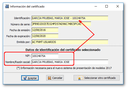 Revisar datos del TITULAR del CERTIFICADO DIGITAL