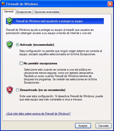 Cortafuetgos de windows. General.