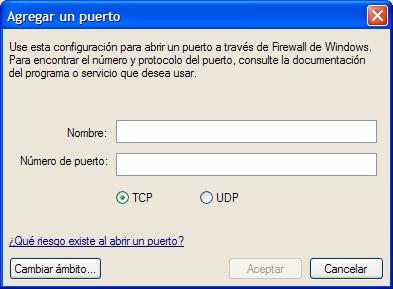 Configuración puerto TCP