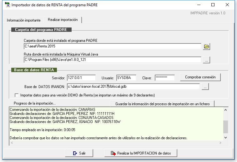 Pantalla del importador de datos del programa PADRE 2015