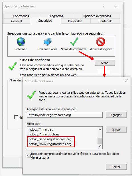 Configuración del navegador web Microsoft Internet Explorer