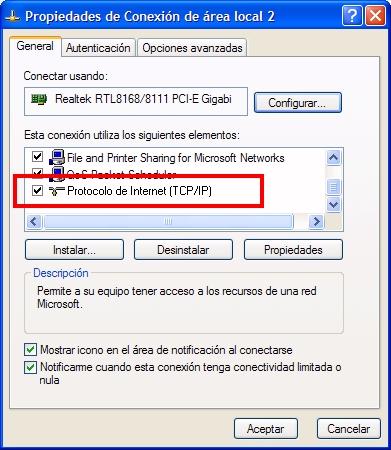 Propiedades del protocolo TCP/IP