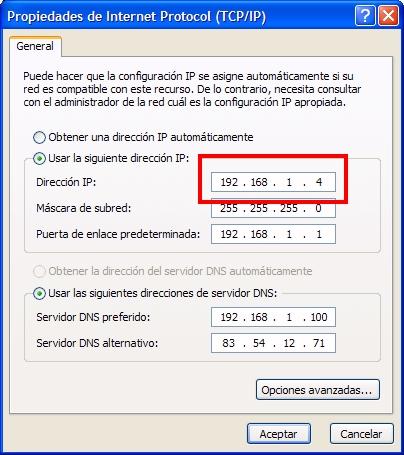 Configuración TP IP